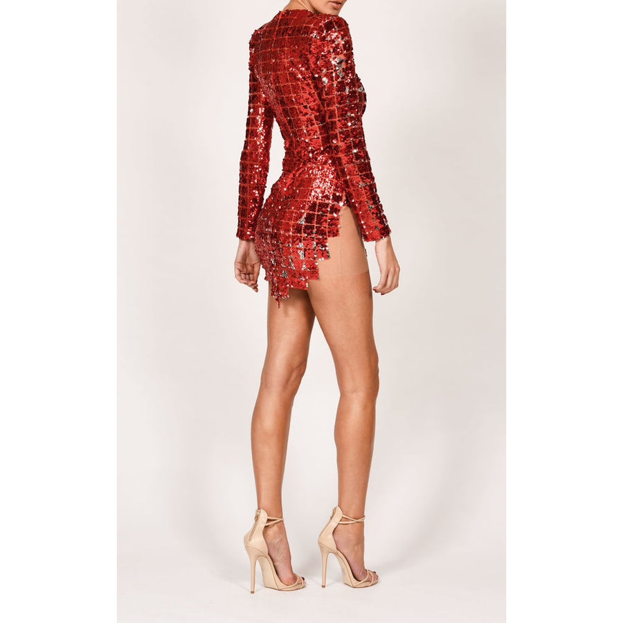 Red Square Sequin Dress