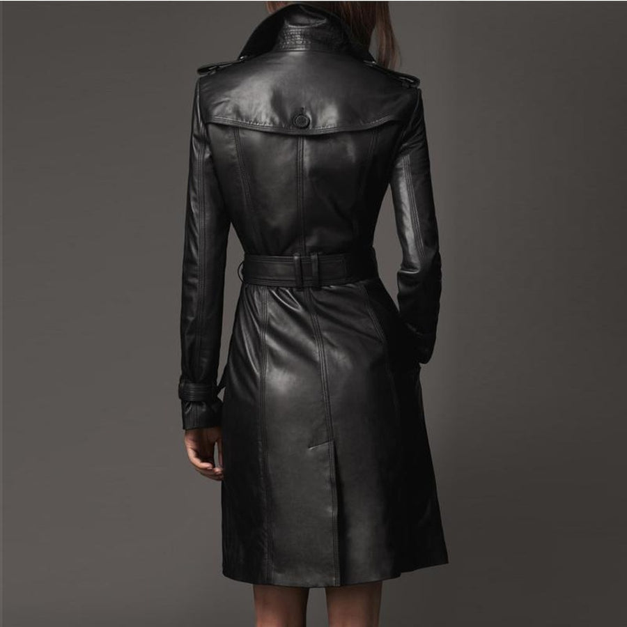 Double-Breasted Faux Leather Trench Coat