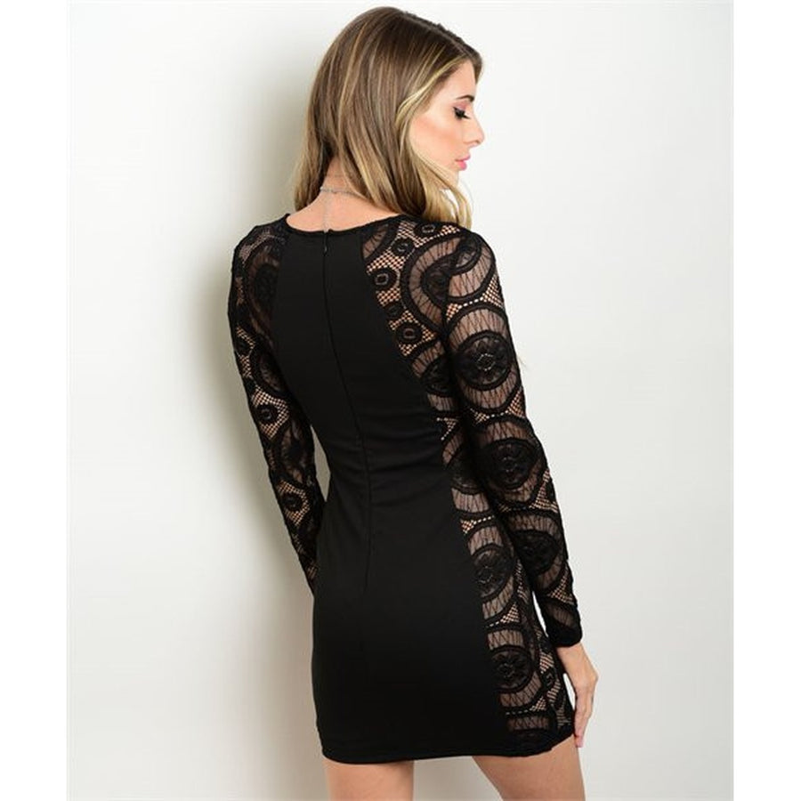 Womens Black Evening Cocktail Lace Mini Dress Womens