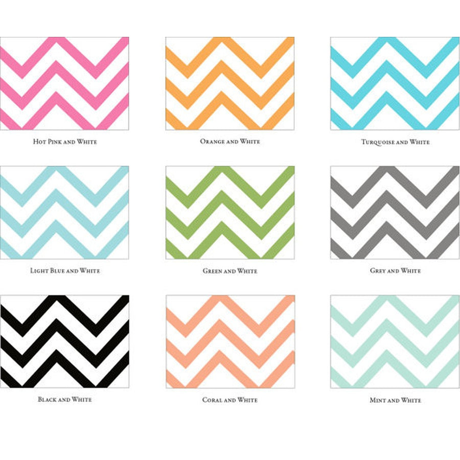 Chevron White Postcards / Choose Your Color - 10 pack