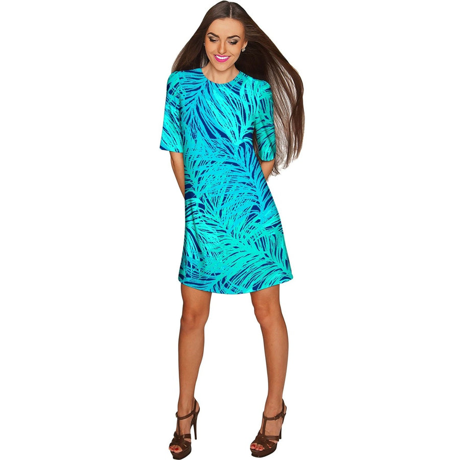 Tropical Dream Grace Green Printed Shift Dress - Women Womens