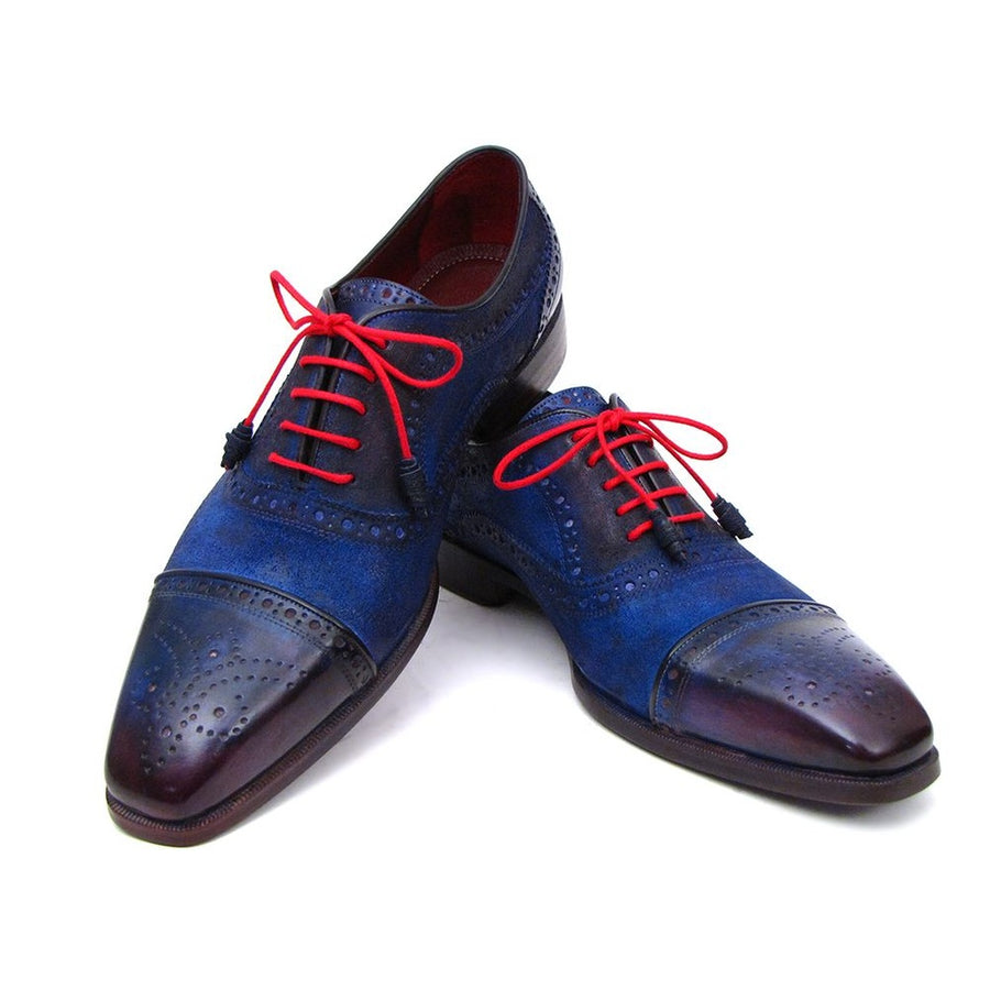 Paul Parkman Mens Captoe Oxfords Blue Suede (ID024-BLUSD)