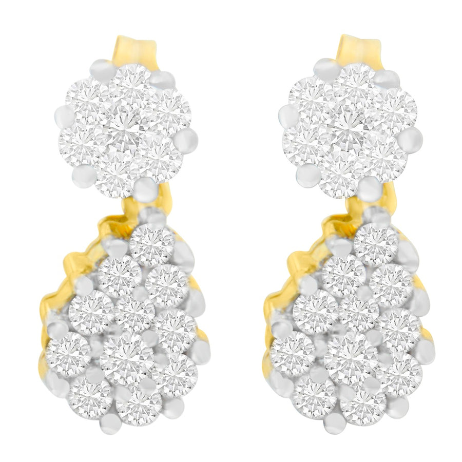 14K Yellow Gold 1.23Ct. Tdw Round-Cut Diamond Earrings (H-I,Si2-I1)