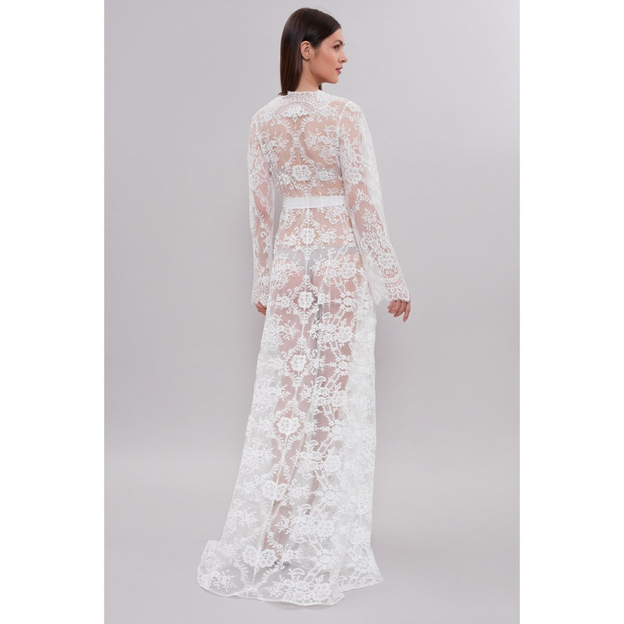 Long Lace Bridal Robe D4