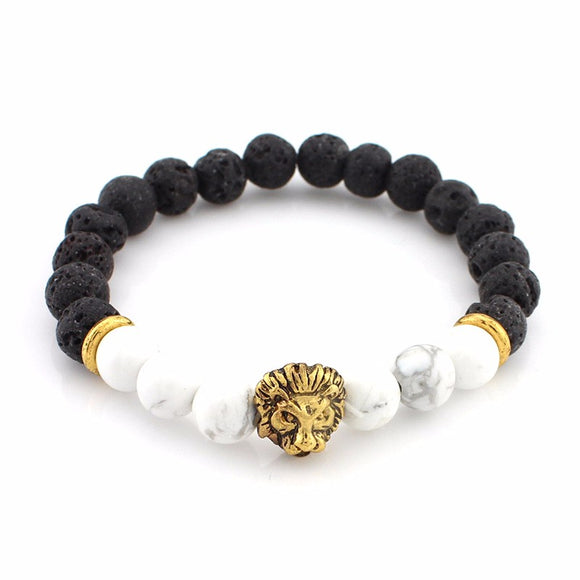 Lava Stone with White Howlite Lion Head Diffuser Yoga Bracelet. - tigers-galleria