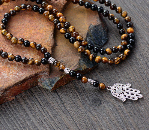 Rosary Beads Necklace Tiger Eye and Onyx with Hamsa Fatima Hand - tigers-galleria