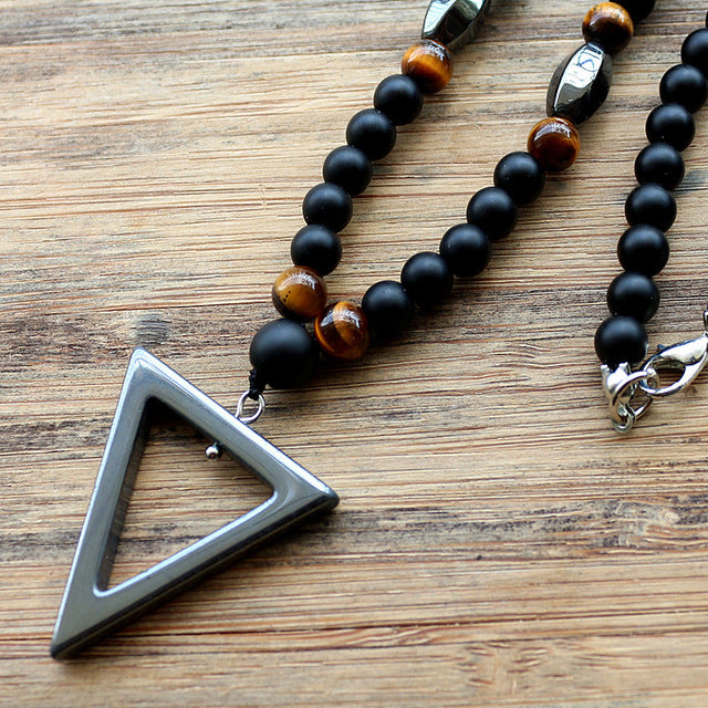Tiger stone beads with hematite triangle pendant tigers galleria mozeypictures Gallery