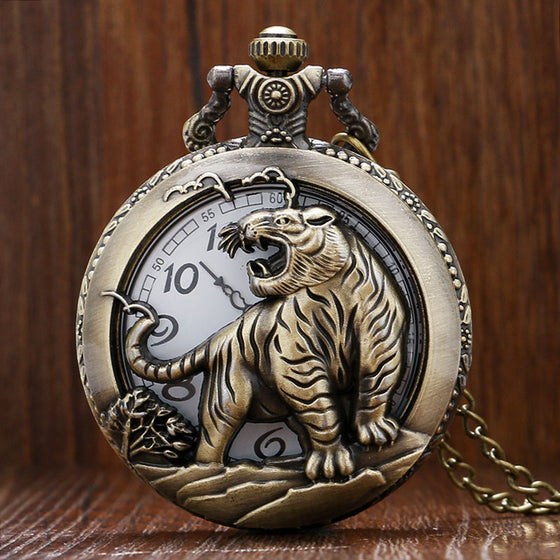Retro Hollow Tiger  Quartz Fob Pocket Watch With Chain. - tigers-galleria
