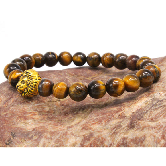 Tigers Eye Lions Head Bracelet. - tigers-galleria