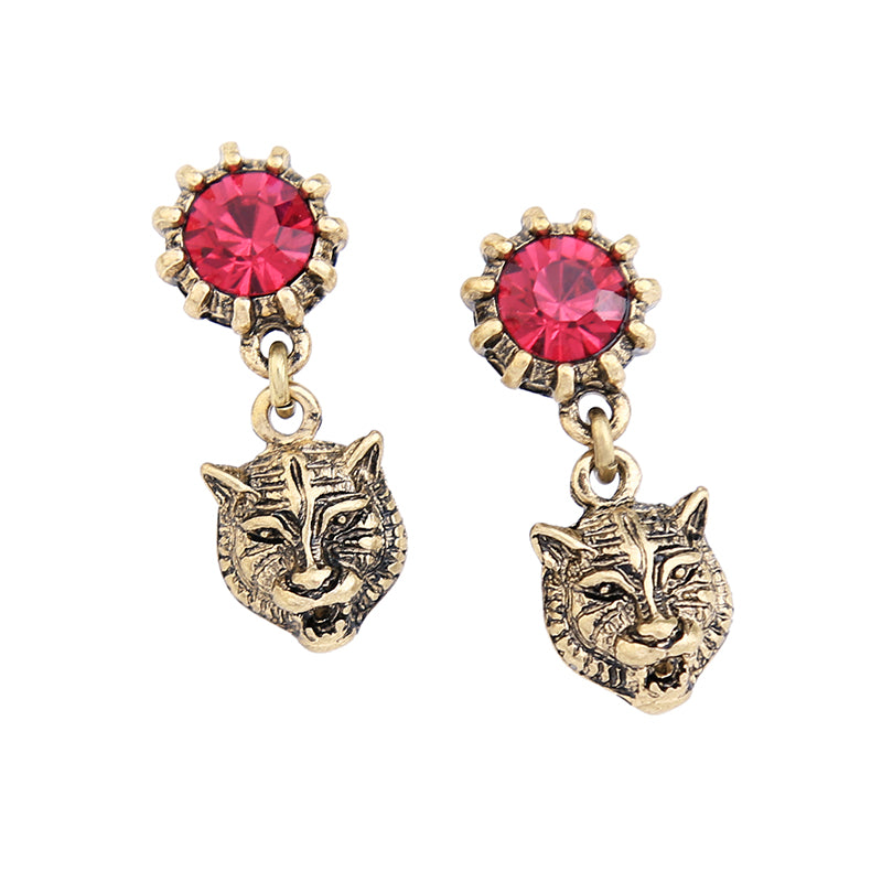 Antique Style Tiger Head Vintage Earrings with Red Crystal - tigers-galleria