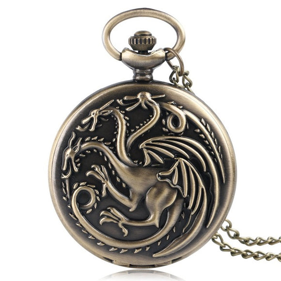 Awesome Retro Quartz Pocket Watch Dragon and Wolf Fob Pocket Watch - tigers-galleria