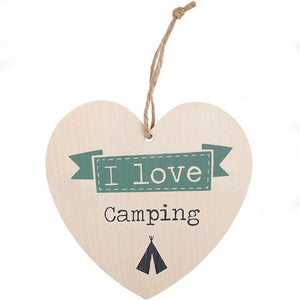 Love camping wooden heart sign