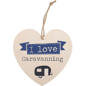 Love caravaning wooden heart sign