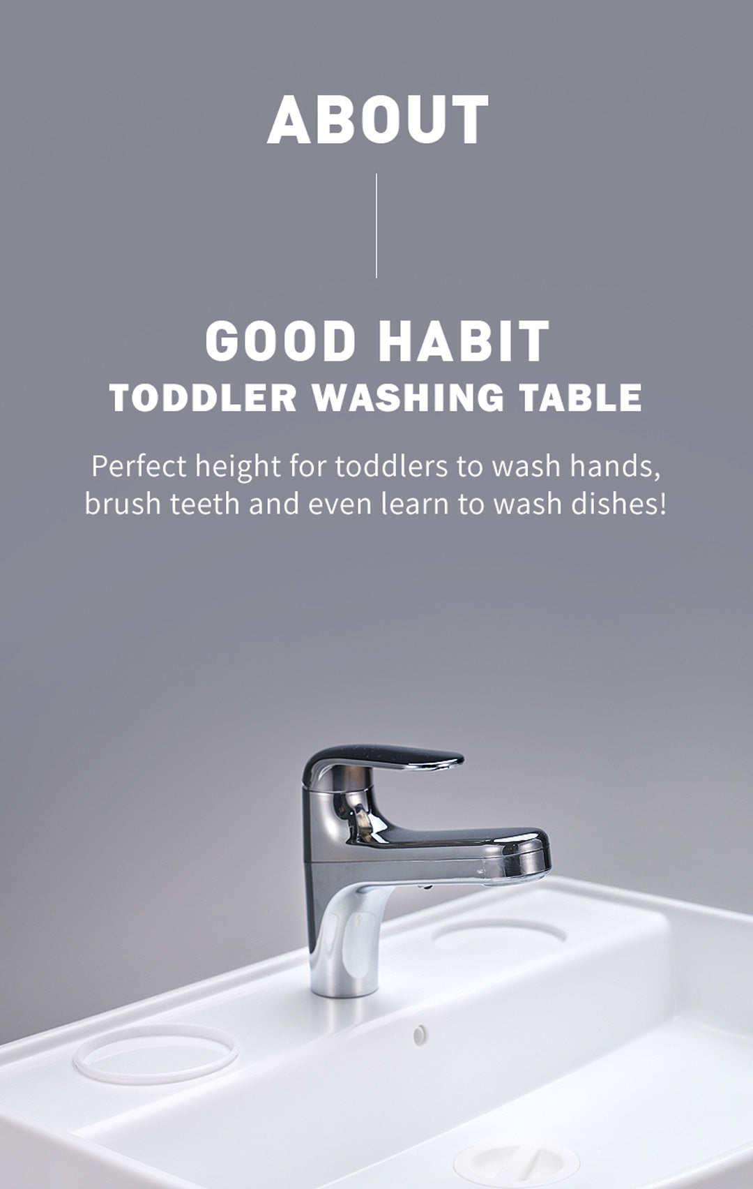 IFAM Good Habit Washing Table - Perfect Height for Kids