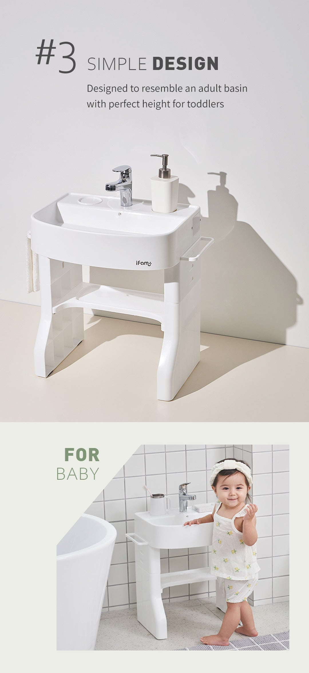 Toddler Washing Table with Simple and Minimalist Design