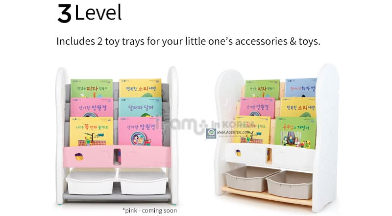 Design Open Bookshelf 3 Level + 2 Toy Trays