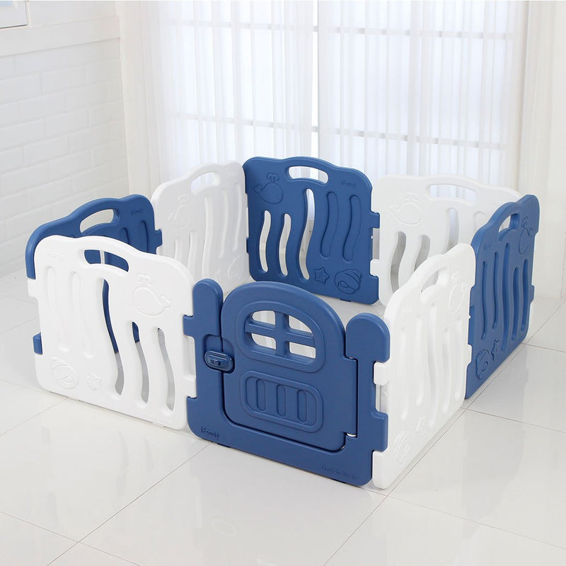 Shell Baby Play Yard with Door Set (8pcs 133x133cm) - Deep Blue+White