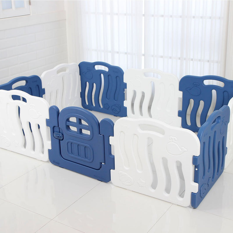 Shell Baby Play Yard with Door Set (10pcs 198x133cm) - Deep Blue+White