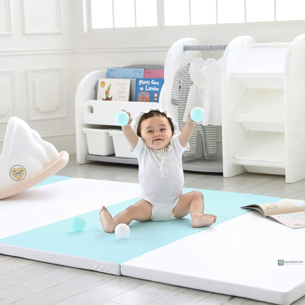 IFAM LOVE U Baby Play Mat - 2 sides usable (Mint+Cream side)
