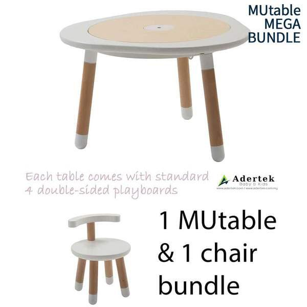 MUtable Bundle - Children Activity Play Table + 1 Chair (5% OFF) - White