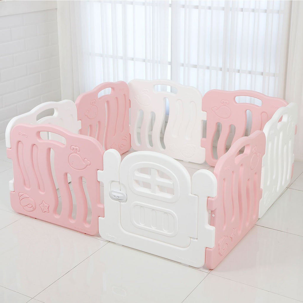 Shell Baby Play Yard with Door Set (8pcs 133x133cm) - Pink+White