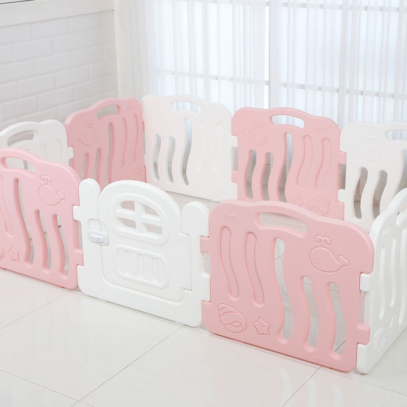Shell Baby Play Yard with Door Set (10pcs 198x133cm) - Pink+White
