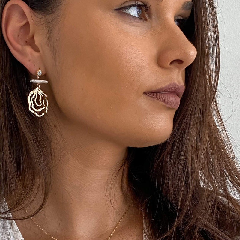 Statement drop earrings in 18ct gold and sterling silver  by Hemera & Nyx Jewellery
