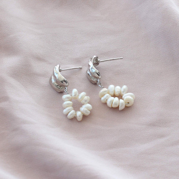 Pearl earring drops in sterling silver statement by hemera and nyx jewellery