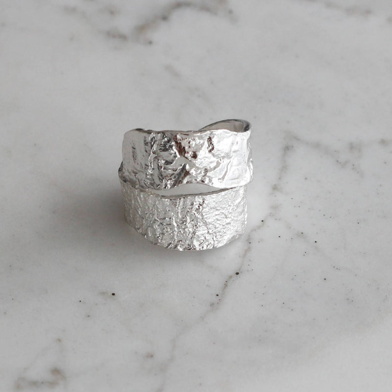 Textured sterling silver statement ring