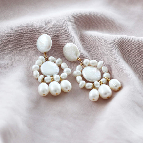 statement pearl earrings in silver with gold plating by hemera and nyx silver jewellery australia handmade by silversmiths