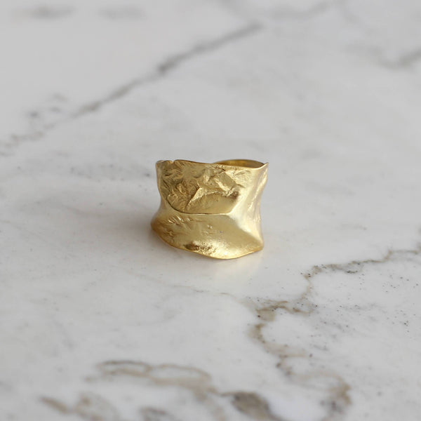 18ct gold plated sterling silver statement ring. Hemera and nyx sterling silver jewellery australia