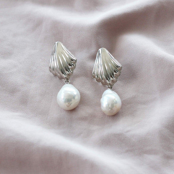 Sterling silver shell clam earrings with pearl drops by hemera and nyx silver jewellery