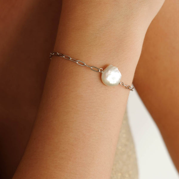 Boyfriend bracelet with pearls in sterling silver by hemera and nyx silver jewellery australia