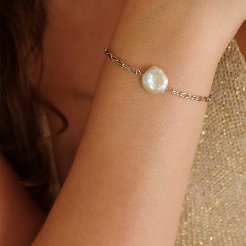 Chunky statement bracelet in sterling silver with pearls by hemera and nyx silver jewellery australia