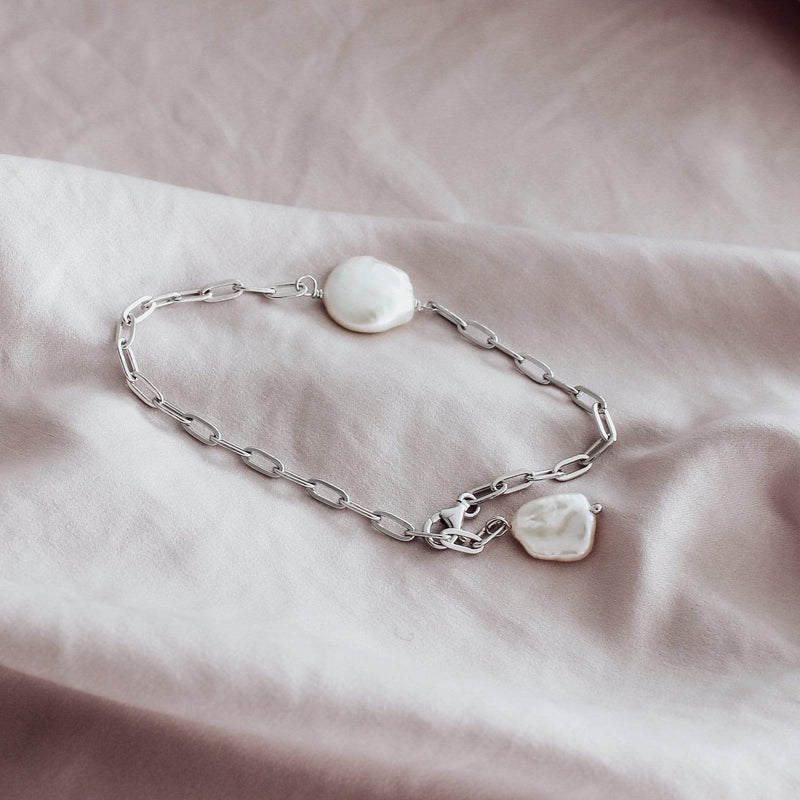 Sterling silver link bracelet with freshwater pearls by hemera and nyx silver jewellery australia