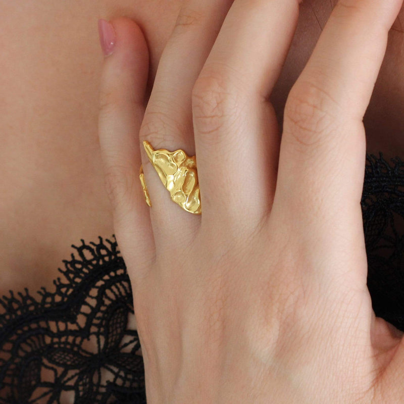 textured 18ct gold plated ring
