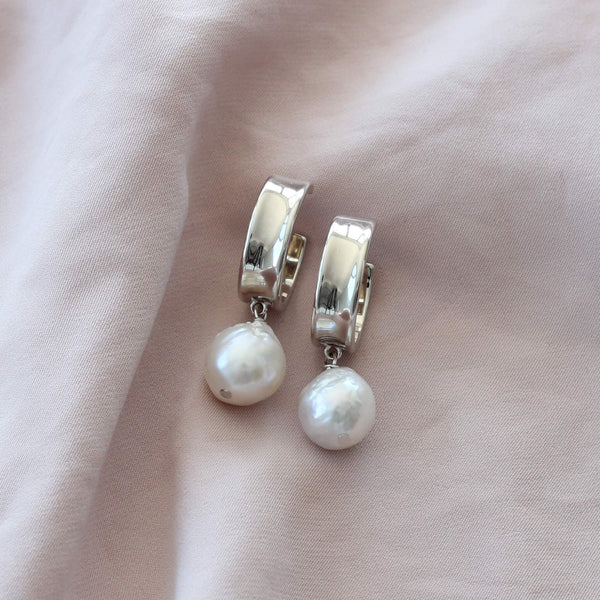 Statement sterling silver earrings with pearls by Hemera and Nyx Silver Jewellery