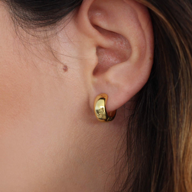 18ct gold sterling silver small hoop earrings