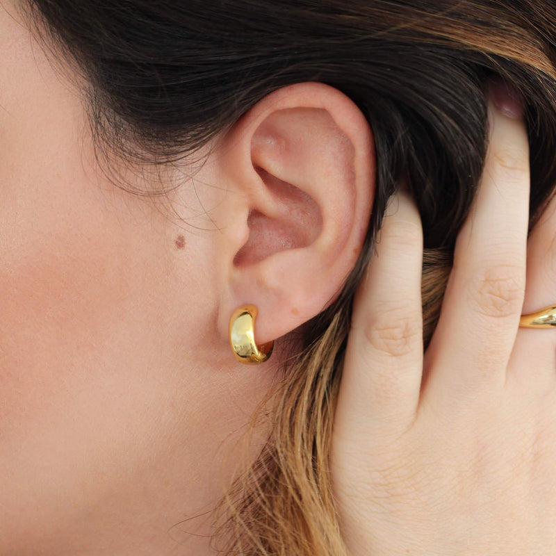 Sterling silver mini hoop earrings with 18ct gold plating