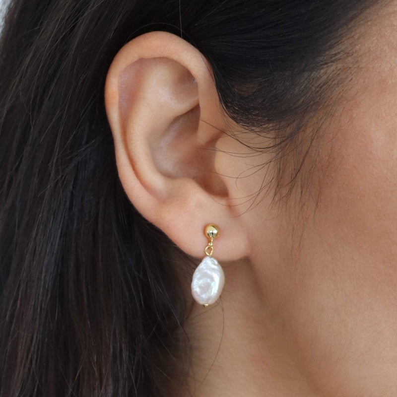 Sterling Silver Baroque Drop Pearls in a simple style with irregular pearls. Gold Plated Earrings. Hemera & Nyx Sterling Silver Jewellery Australia