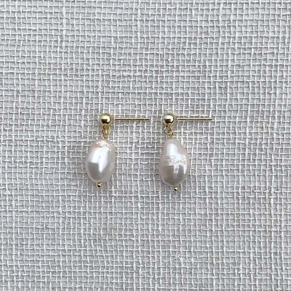 Gold Plated Silver Drop Earrings Featuring Baroque Freshwater Irregular and Asymmetrical Pearls. Hemera & Nyx Jewellery Australia