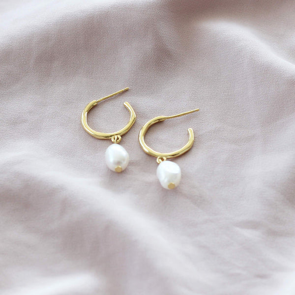 sterling silver hoop earrings with pearl in gold plating by hemera and nyx silver jewellery australia