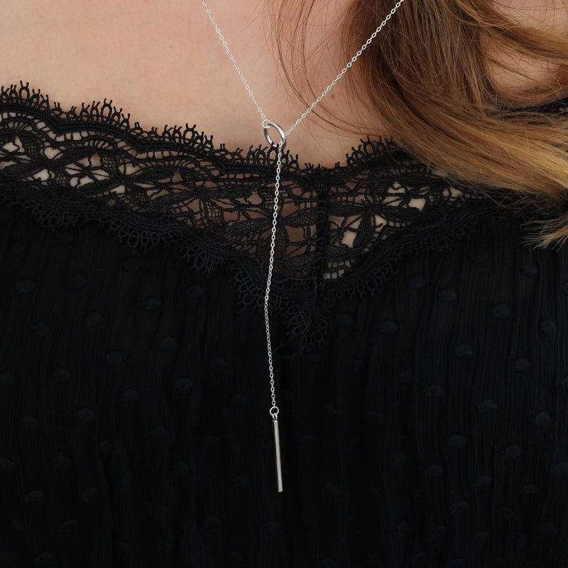 Sterling Silver Long Lariat Necklace