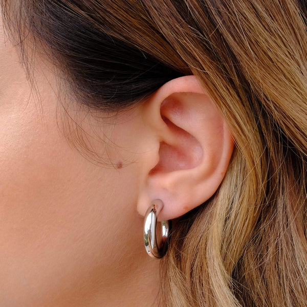 Sterling silver statement chunky hoops by Hemera & Nyx Sterling silver Jewellery Australia