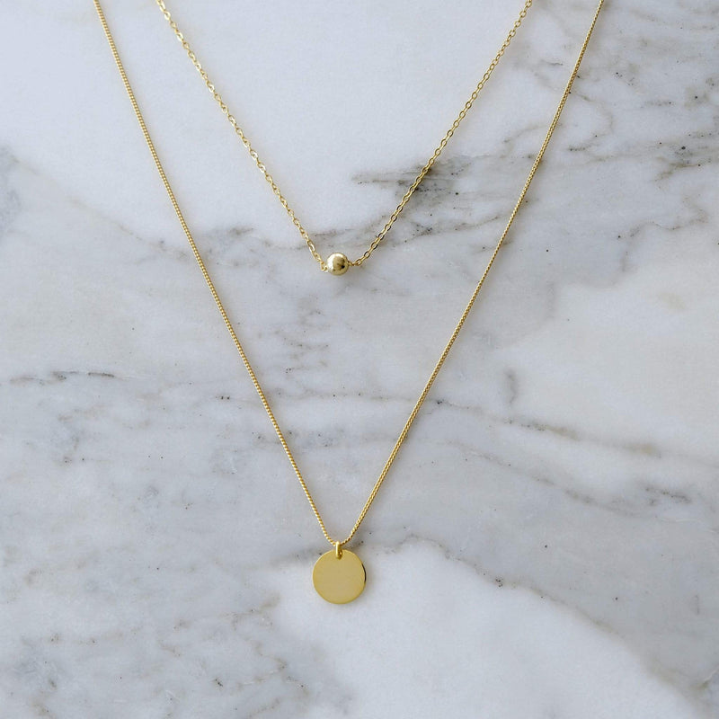 Sterling Silver & Yellow Gold Double Chain Necklace with ball and circle pendants Hemera & Nyx Jewellery