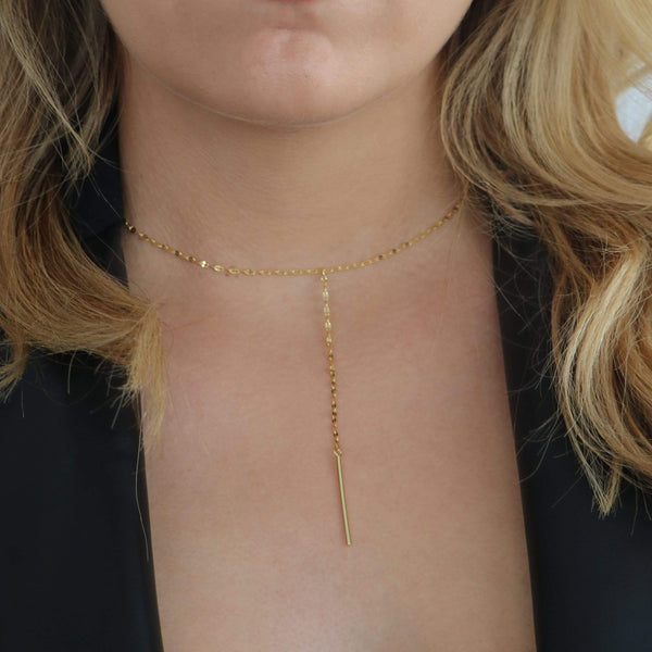 Sterling silver lariat with 18ct gold plating by Hemera & Nyx Jewellery Australia