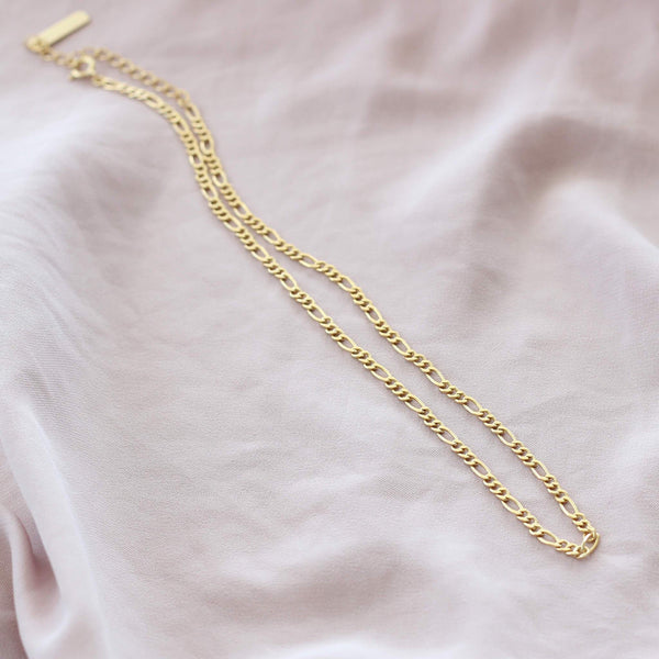Figaro choker chain necklace in sterling silver with yellow gold plating by hemera and nyx siolver jewellery australia