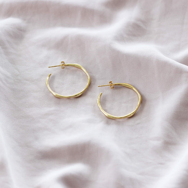 Sterling silver hoop earrings with gold plating by hemera and nyx silver jewellery australia