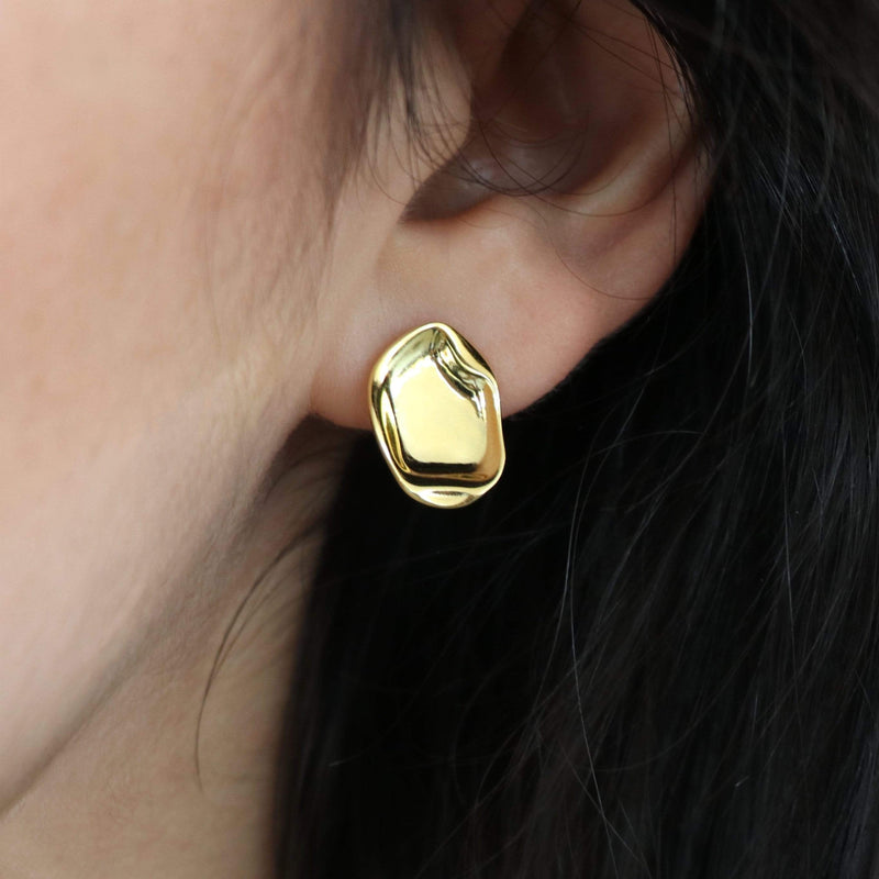 Sterling silver statement stud with yellow gold plating