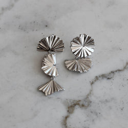 sterling silver asymetric drop earrings, flower earrings in silver